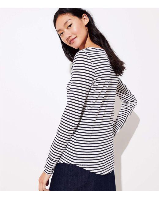 df508251cd ... LOFT - Blue Striped Long Sleeve Shirttail Tee - Lyst
