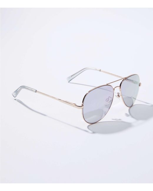 LOFT - Blue Mirrored Aviator Sunglasses - Lyst