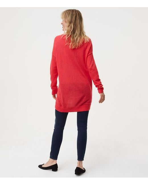 Loft Maternity Boyfriend Sweater in Red | Lyst