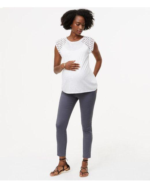 LOFT | Gray Petite Maternity Skinny Sanded Sateen Chinos | Lyst