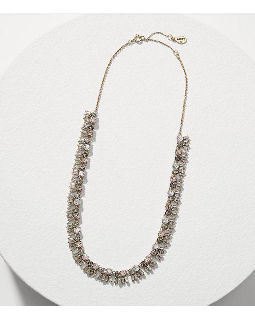 LOFT   Metallic Mixed Crystal Necklace   Lyst