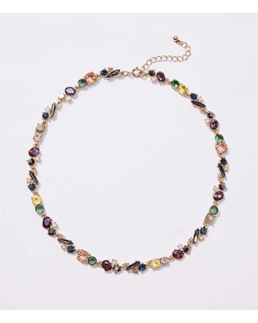 LOFT - Metallic Mixed Crystal Stone Necklace - Lyst