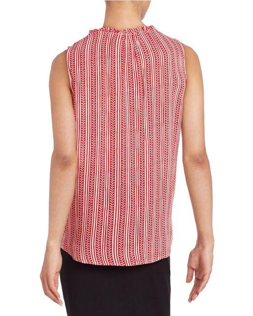 Velvet by graham spencer printed button front shirt in for Red velvet button up shirt