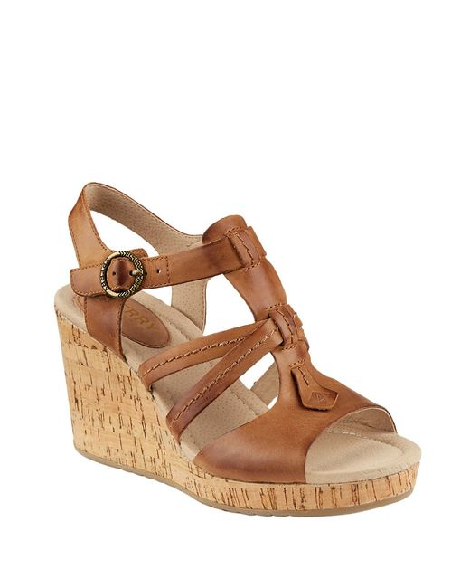 sperry top sider day leather wedge sandals in brown