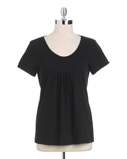 Lord & Taylor - Black Short Sleeved Scoopneck Tee - Lyst