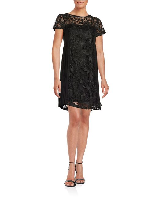 adrianna papell lace shift dress in black lyst