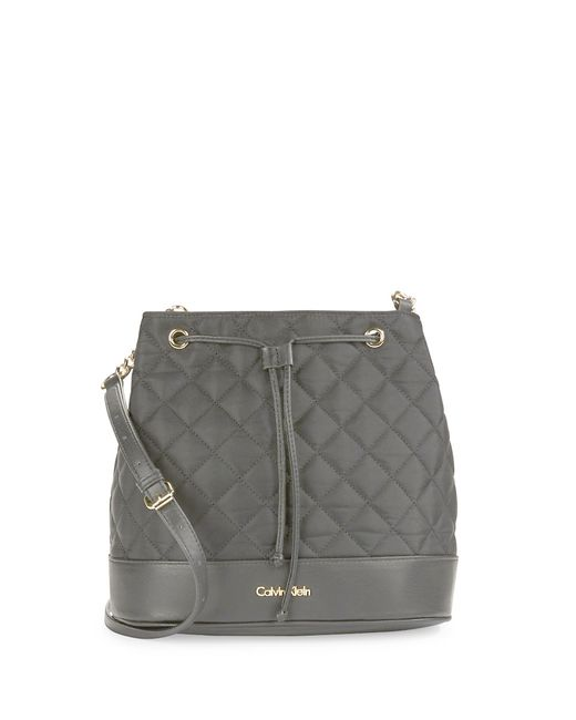 Calvin Klein | Black Quilted Leather-trimmed Bucket Bag | Lyst