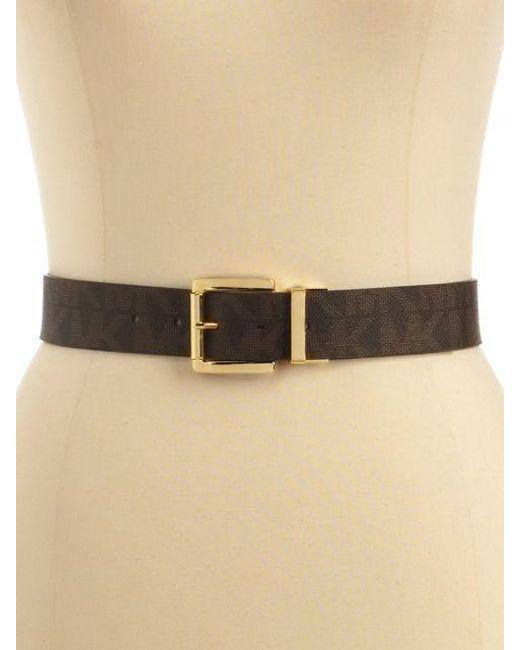 0c7f79412b4d ... real michael michael kors brown reversible faux leather logo belt lyst  93a9e 65487