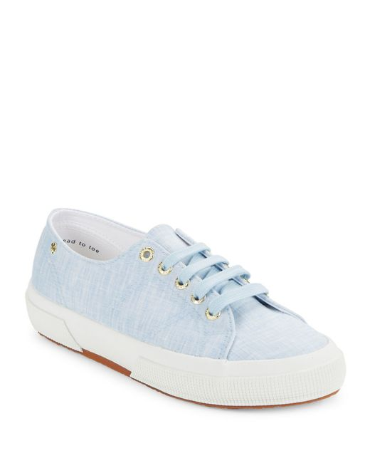 Superga 2750 Linen Lace Up Sneakers In Blue Lyst