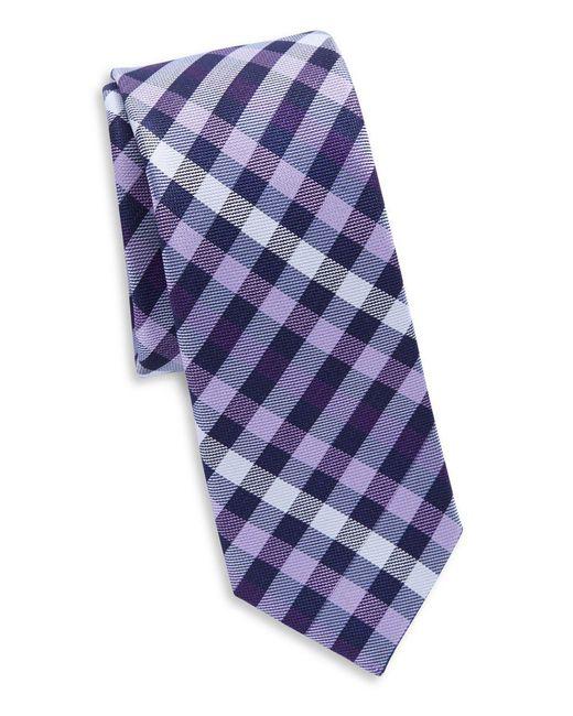 Original Penguin - Purple Silk Plaid Tie for Men - Lyst