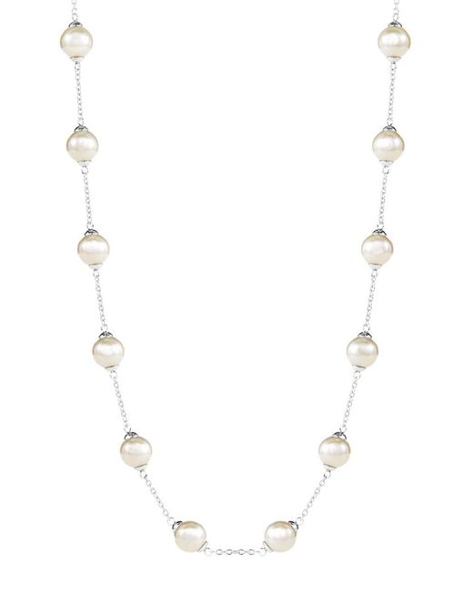 Majorica | White Pearl And Chain Necklace | Lyst