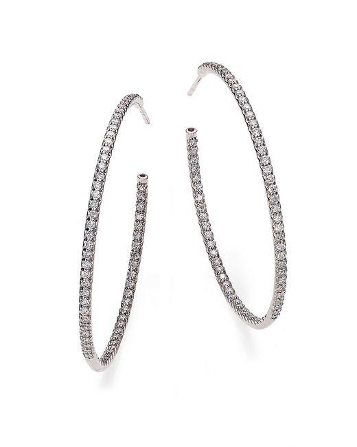 Roberto Coin   Metallic Diamond & 18k White Gold Inside-outside Hoop Earrings/1.75   Lyst