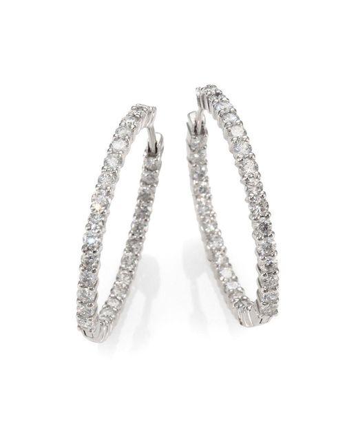 Roberto Coin | Metallic Diamond & 18k White Gold Hoop Earrings- 1.2in | Lyst