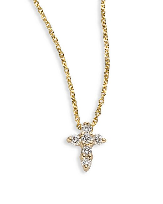 Roberto Coin | Yellow 'tiny Treasures' Diamond Cross Pendant Necklace | Lyst