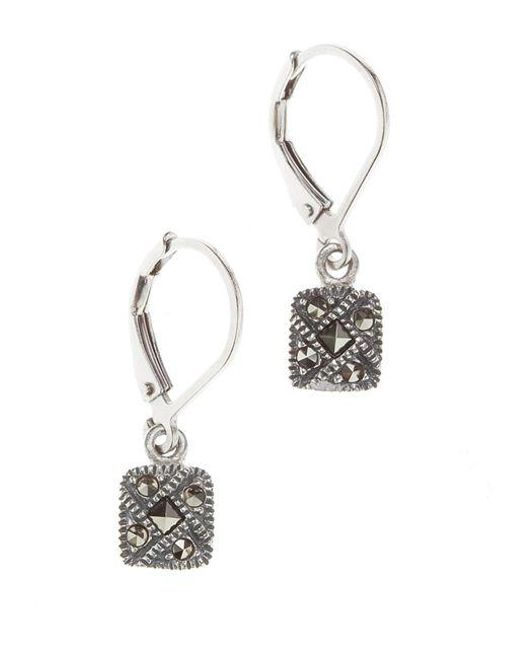 Judith Jack | Metallic Sterling Silver And Crystal Square Drop Earrings | Lyst