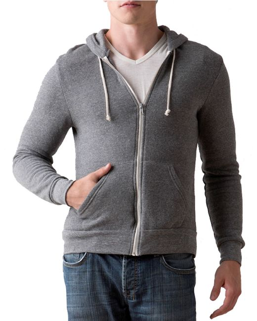 Alternative Apparel   Gray Rocky Zip Hoodie for Men   Lyst