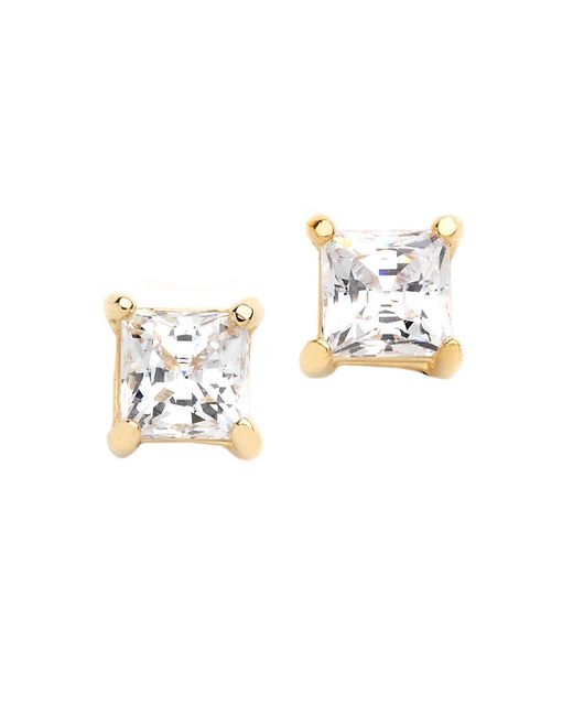 Lord & Taylor | Metallic 18k Gold Over Sterling Silver And Cubic Zirconia Stud Earrings | Lyst