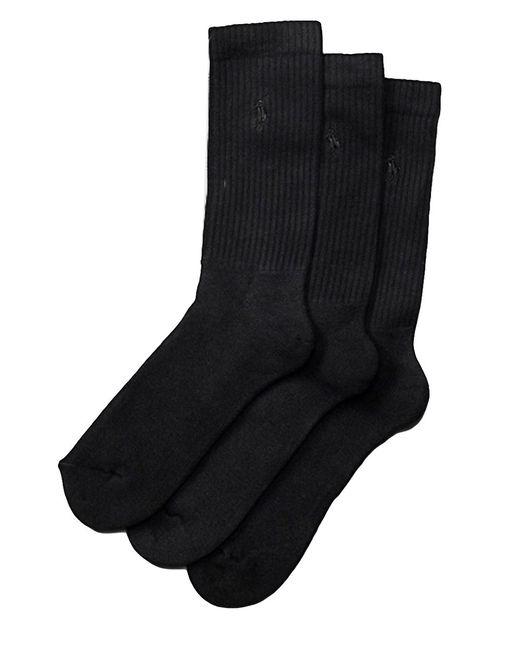 Polo Ralph Lauren | Black Combed Cotton Dress Socks 3-pack for Men | Lyst