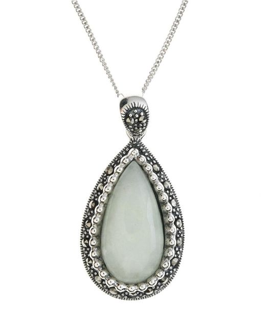 Lord & Taylor | Metallic Sterling Silver And Marcasite Jade Pendant Necklace | Lyst