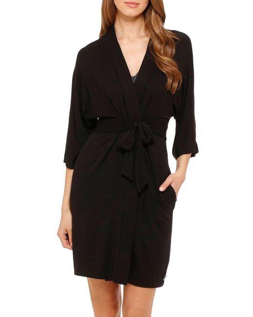 DKNY | Black Urban Essentials Short Wrap Robe | Lyst