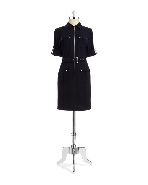 MICHAEL Michael Kors | Blue Rolled Sleeve Belt Dress | Lyst