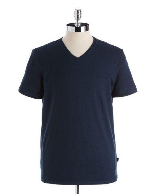 Calvin Klein   Blue Cotton Slim-fit V-neck T-shirt for Men   Lyst