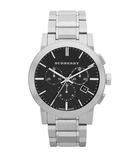 Burberry   Metallic Brushed Stainless Steel Chronograph Watch for Men   Lyst