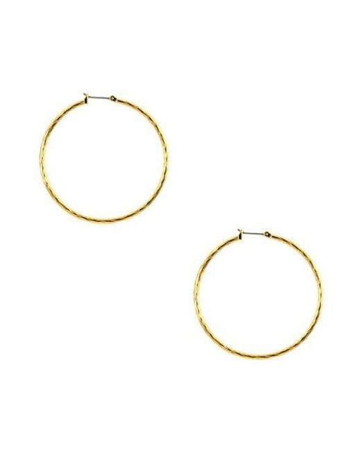 Anne Klein | Metallic Textured Gold Plated Hoop Earrings | Lyst