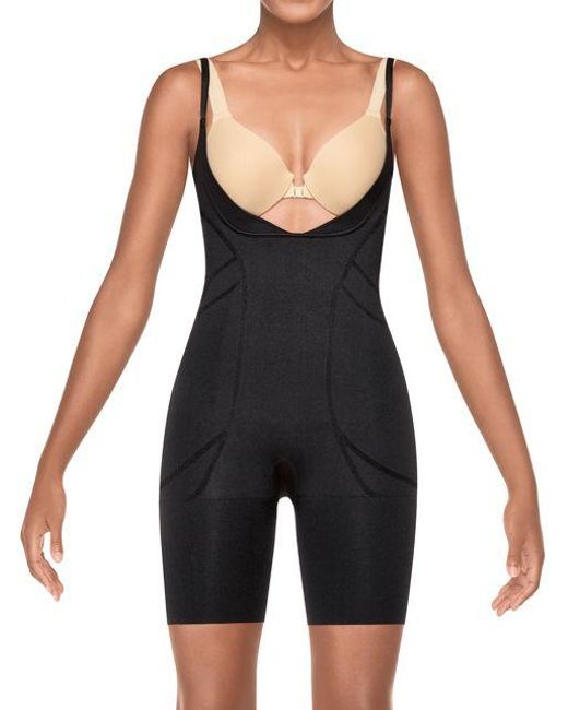 Spanx | Black Slimmer And Shine Open-bust Mid-thigh Bodysuit | Lyst