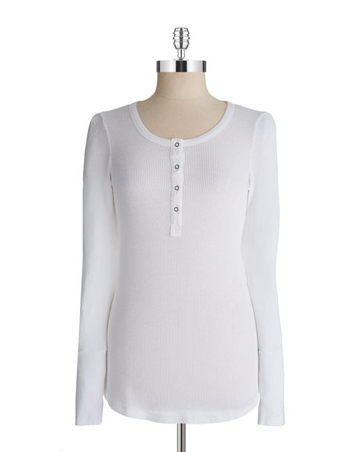 Splendid | White Thermal Henley Top | Lyst