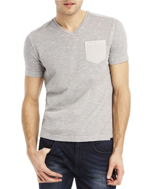 Kenneth Cole | Gray Acid Washed Pocket T-shirt for Men | Lyst