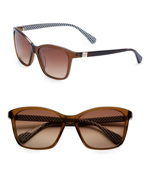 Diane von Furstenberg | Brown Courtney 56mm Square Sunglasses | Lyst