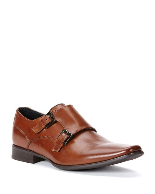 Calvin Klein | Brown Bayard Leather Double Monk-strap Shoes for Men | Lyst