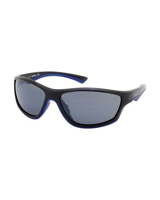 Timberland | Black 63mm Rounded Rectangular Wrap Sunglasses for Men | Lyst