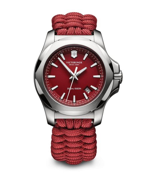Victorinox Stainless Steel Paracord Bracelet Watch in Red ...