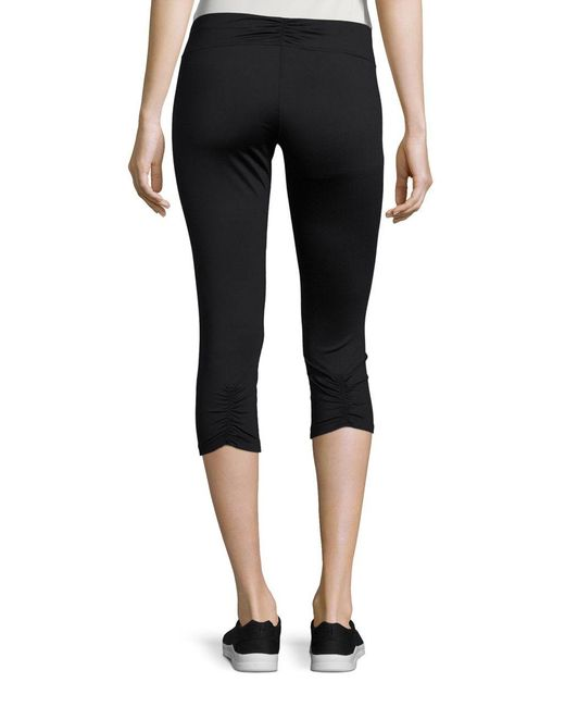 Calvin klein Ruched Cropped Leggings in Black | Lyst