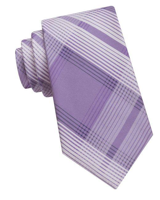 Calvin Klein   Purple Striped Silk Tie for Men   Lyst
