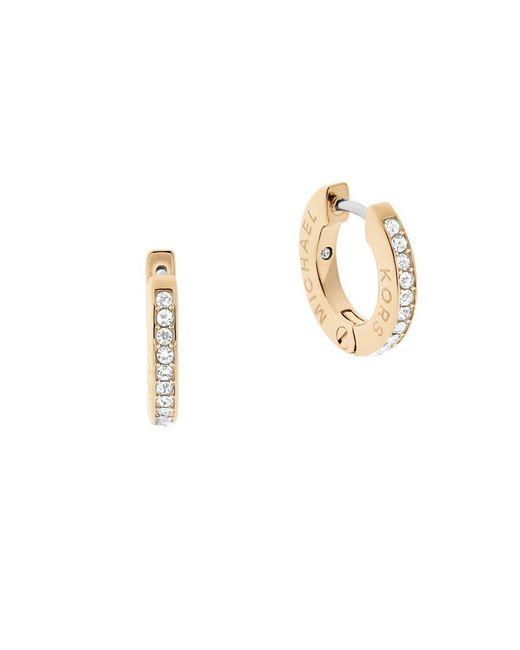 Michael Kors | Metallic Pavé Logo Huggie Earrings | Lyst