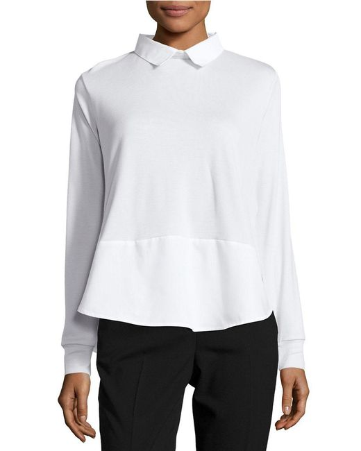 French Connection | White Long-sleeve Colorblock Top | Lyst