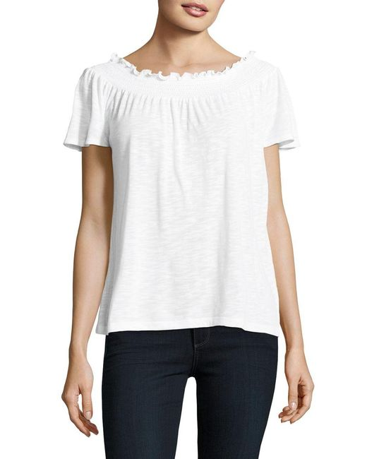 Lord & Taylor   White Petite Smocked Top   Lyst