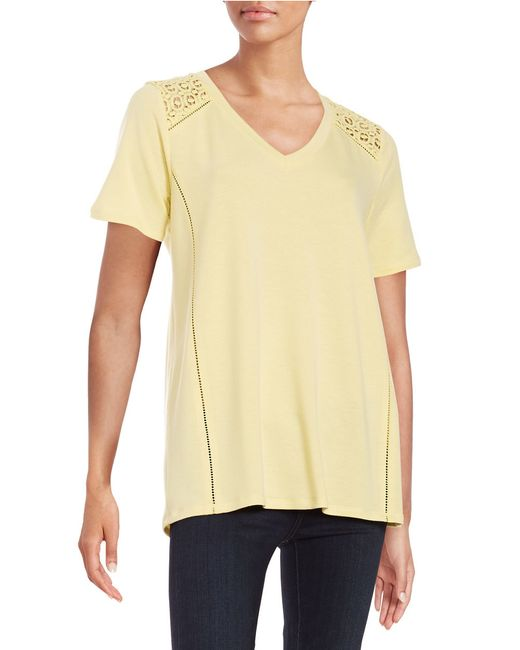 Lord & Taylor   Multicolor Crocheted Shoulder Tee   Lyst