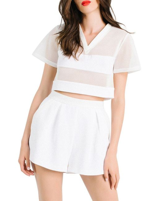 Kendall + Kylie | White Boxy Mesh Crop Top | Lyst