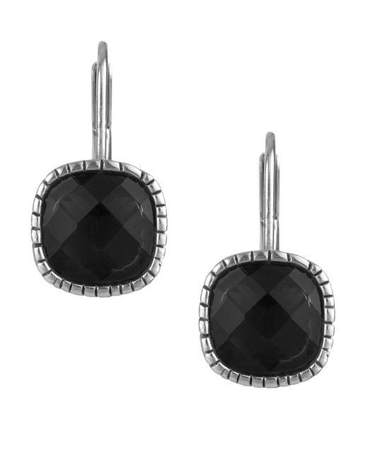 The Sak | Black Cushion Cut Crystal Leverback Earrings | Lyst