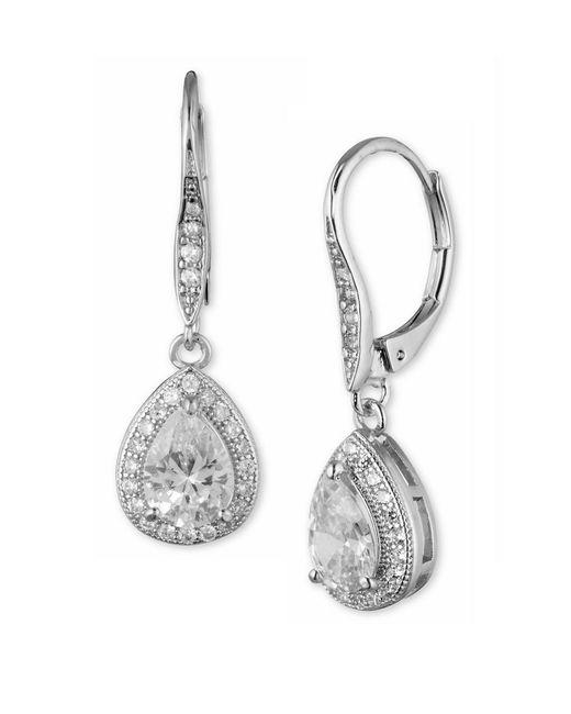 Anne Klein   Metallic Gold-tone Pave Crystal Drop Earrings   Lyst