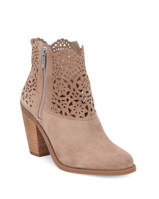 Jessica Simpson Cachelle Scalloped Suede Ankle Boots In