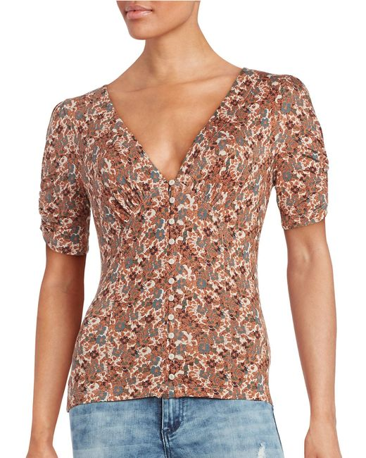 Free People | Pink Printed Gypsy Off The Shoulder Top | Lyst