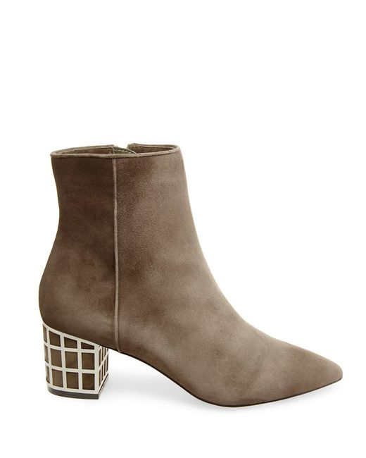 b brian atwood kallie suede ankle boots in brown lyst