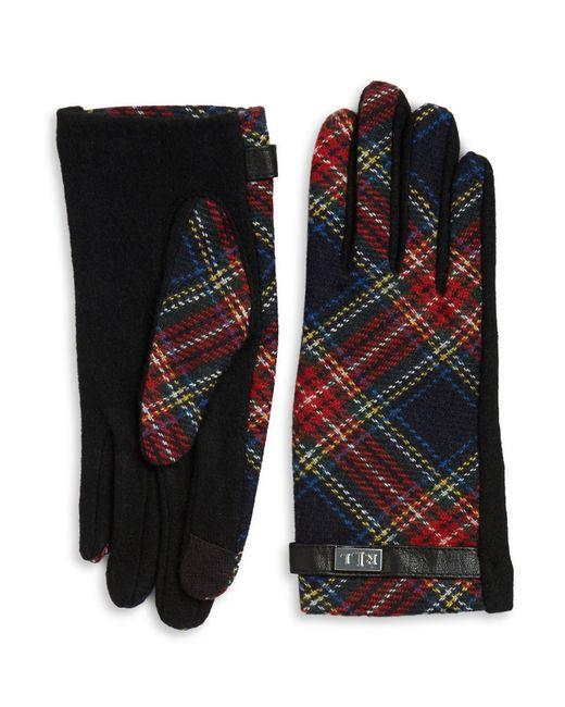 Lauren by Ralph Lauren | Black Wool-blend Plaid Touch Gloves | Lyst