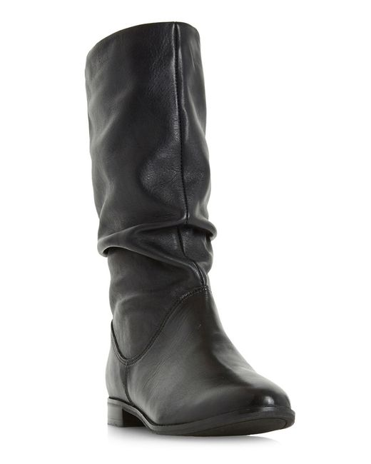 Dune | Black Rosalind Slouchy Leather Boots | Lyst
