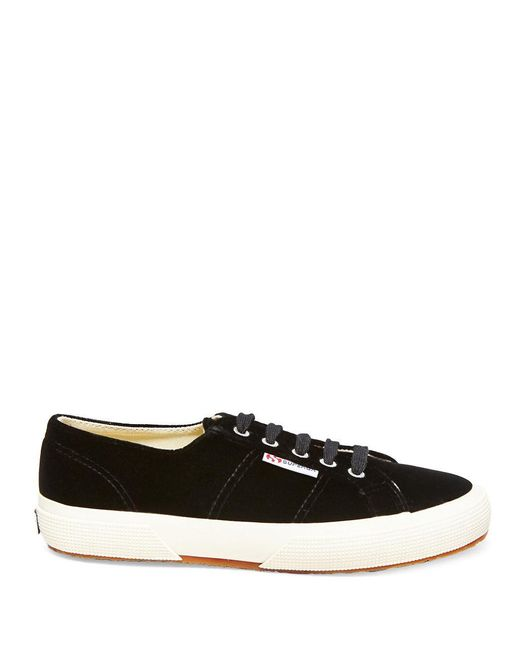 Superga | Black Velvet Lace Up Sneakers | Lyst